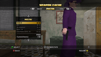 VICE 9 Pistol in the Weapons Cache in Saints Row