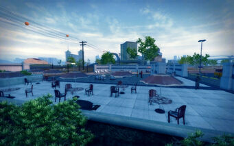 Huntersfield in Saints Row 2 - outside seating