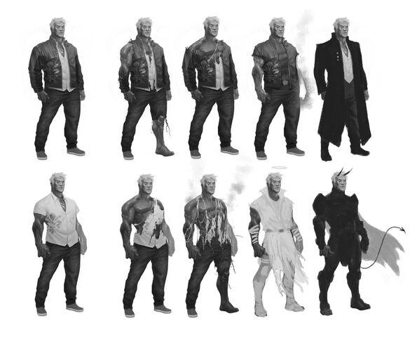 File:Johnny Gat Concept Art - Gat out of Hell Demonic look - ten versions.jpg