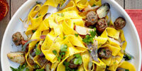 Roasted Vegetable and Mini Meatball Pappardelle