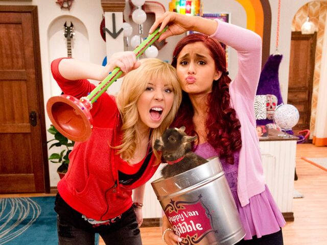 File:Sam and Cat holding a plunger and a goat.jpg