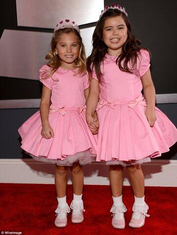 File:Sophia & Rosie wearing matching pink dresses.jpg