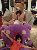 Cameron and Gianna at Jennette's house with stuffed animals