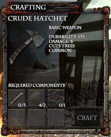 Crude Hatchet Crafting