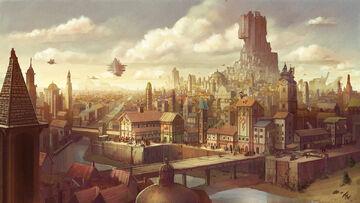 1200x677 1289 Old empire city 2d fantasy city airship empire architecture picture image digital art