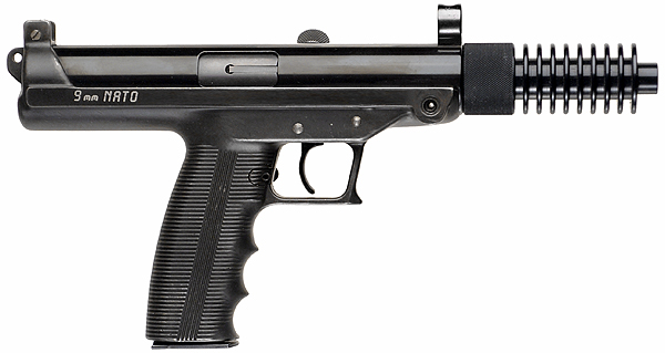 File:Claridge Hi-Tec S9 Pistol with Cooling Fin Muzzle Extension - 9mm.jpg