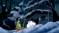 Headless Snowman chases Shag and Scoob out of Jeb's home