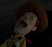 Woody yelling comically