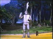 The Tin Man letting some steam out of his tin head