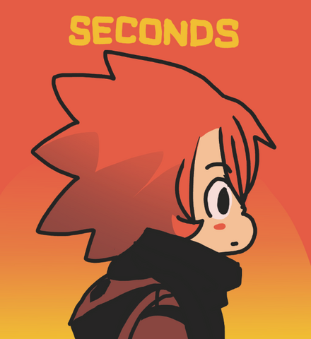 File:SECONDS Tumblr Promo Antagonist With Seconds Lettering Orange BG.png