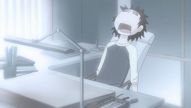 File:Chiaki exhausted after completing a manuscript ep05.jpg