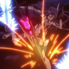 Tsubasa getting hit by Maria's spear