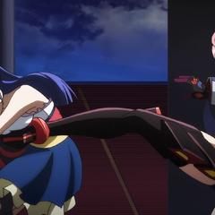 Maria kicking Tsubasa in the stomach