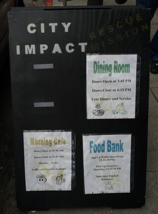 City impact rescue mission sign