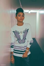 Zendaya-coleman-bun-bird-on-jumper