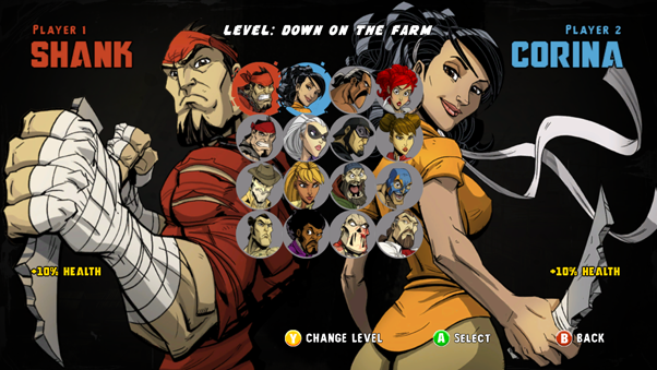 File:Shank 2 survival mode character screen.png