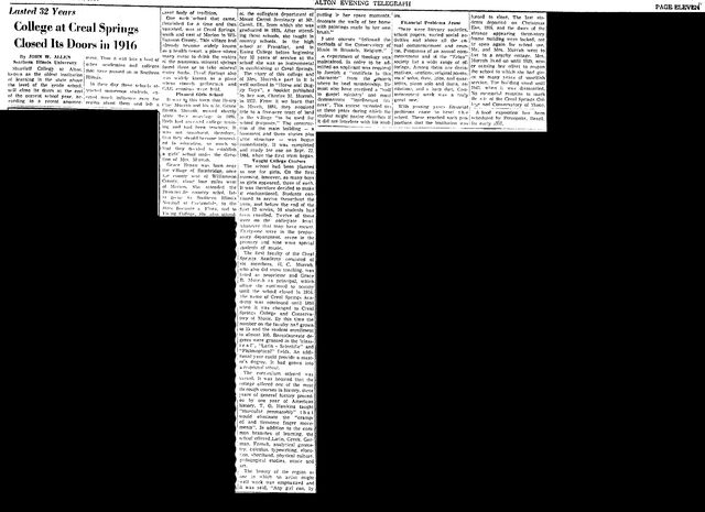 File:Alton Evening Telegraph.1957-01-24.College at Creal Springs Closed Its Doors in 1916.jpg