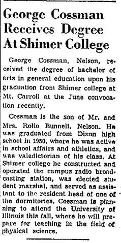 File:Dixon Evening Telegraph.1952-07-01.George Cossman Receives Degree at Shimer College.jpg