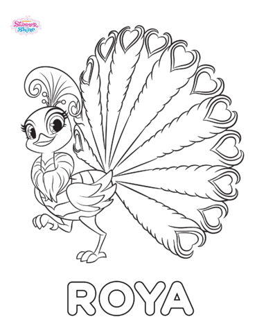 File:Roya the Peacock Shimmer and Shine Coloring Page.png