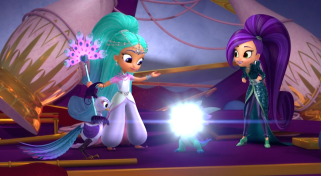 File:Shimmer and Shine Characters with Roya the Peacock 2.png