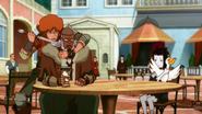 Favaro and Rita threatening Bacchus and Hamsa