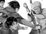 Mikasa cuts Reiner