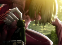 Armin encounters the Female Titan.png
