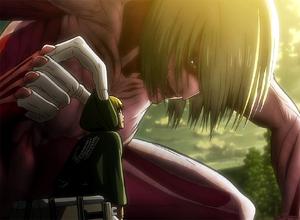 Armin encounters the Female Titan.png