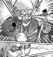 Mikasa and Hange attack Reiner with the Thunder Spears