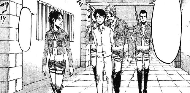 File:Hange and Mike escort Eren to the trial.jpg
