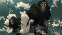 Keiji and Goggles chase the Armored Titan