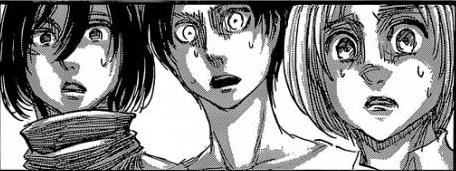 Mikasa Eren Armin shocked