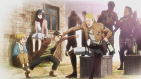 Eren, Armin, Mikasa and Hannes in the past