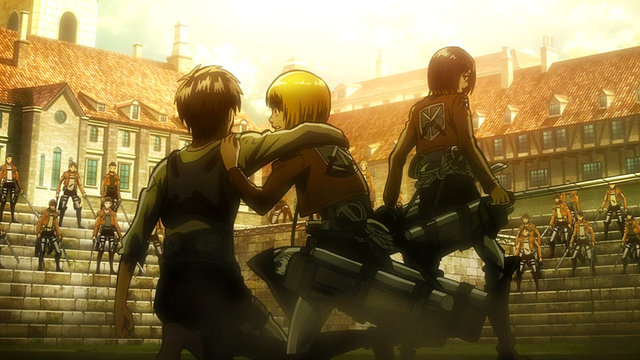 File:Eren, Mikasa and Armin face the Garrison.png