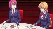 Erina and Hisako feasting (anime)