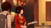 Shizuka in red kimono bought Nagate food