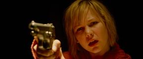 Heather, aiming at Leonard