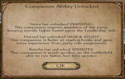 Companion ability unlocks