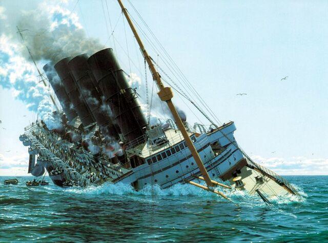 File:Sinking of the SS Aquitania.jpg