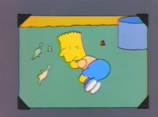 File:Bart young sleeping on the floor in a photo in And Maggie Makes Three.png