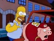 Homer pulling pig's tail