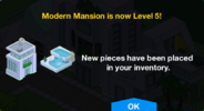 Modern Mansion Level 5 Upgrade Screen