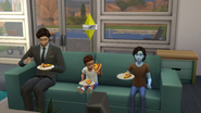 Alien toddler in TS4 eating pizza