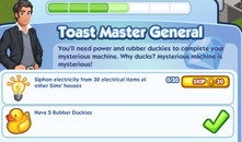 Sims Social - Quest - Toast Master General