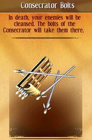 Consecrator bolts
