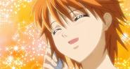 Kyoko happily answering the phone