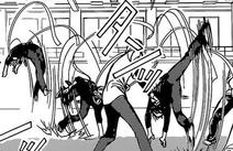 Kyoko flips through stuntmen during momiji test