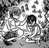 Little kuon patting kyoko's head