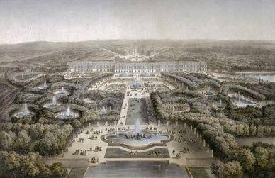 Vue à vol d'oiseau des jardins de Versailles