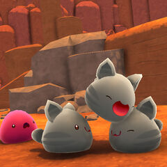 Tabby Slimes playing while a Pink Slime watches sadly because it feels left out